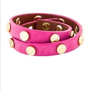 TORY BURCH Logo Leather Double-Wrap pink Bracelet